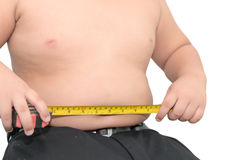 Fat boy measuring his belly with measurement tape isolated Stock Photography