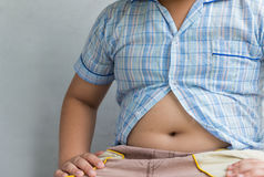 Fat boy overweight. Tight shirt. Stock Image