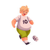 Fat boy playing football, getting fit, active lifestyle. Fat boy playing football, cartoon vector illustration  on white background. Obese, fat, chubby kid Royalty Free Stock Photo