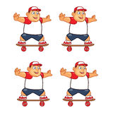 Fat Boy Skater Animation Sprite Stock Image