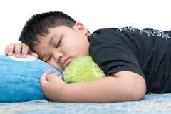 Fat boy sleep isolated on white Stock Photography
