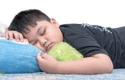 Fat boy sleep isolated on white Royalty Free Stock Image