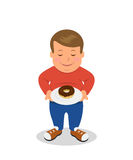 Fat boy standing and holding a plate with donuts.  Sad male character obese is isolated on a white background. Stock Photography