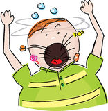 Fat boy thowing up. Childish style illustration of a fat boy vomiting candy Royalty Free Stock Images