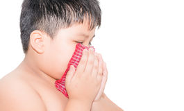 Fat boy Use a handkerchief when coughing isolated Stock Photography