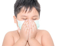 Fat boy Use a health mask when coughing isolated Royalty Free Stock Photo