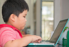 Fat boy use notebook to doing his homework. Asian boy use notebook to doing his homework Stock Photo