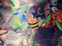 Fat bumblebee to fly seriously help Royalty Free Stock Photography