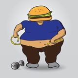 Fat burger man Royalty Free Stock Photos