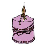 Fat Burning Candle with Ribbon. Ink Vector Illustration Isolated On a White Background Doodle Cartoon Vintage Hand Drawn Stock Images