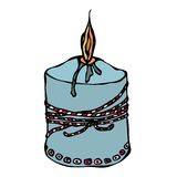 Fat Burning Candle with Ribbon. Ink Vector Illustration Isolated On a White Background Doodle Cartoon Vintage Hand Drawn Royalty Free Stock Images