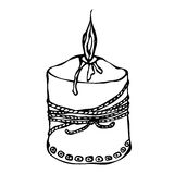 Fat Burning Candle with Ribbon. Ink Vector Illustration Isolated On a White Background Doodle Cartoon Vintage Hand Drawn Stock Image