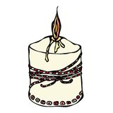 Fat Burning Candle with Ribbon. Ink Vector Illustration Isolated On a White Background Doodle Cartoon Vintage Hand Drawn Stock Photos