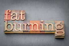 Fat burning word abstract. In letterpress wood type against a gray slate rock Stock Images