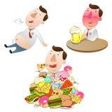 Fat Businessman eating Stock Image