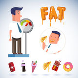 Fat businessman on weighing apparatus with junk food. overweight Stock Image