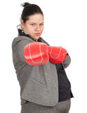 Fat businesswoman in boxing gloves Stock Photo