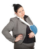 Fat businesswoman with broken hand Royalty Free Stock Images