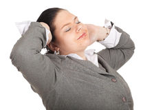 Fat businesswoman in grey suit Stock Photo