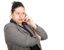 Fat businesswoman with mobil phone Stock Photography