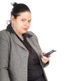 Fat businesswoman with mobil phone Stock Image