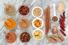 Fat Busting Spices for Weight Loss. With fresh and dried turmeric, ginger, cumin, chilli, cinnamon and gymnema sylvestre used to suppress appetite. Top view on stock photo