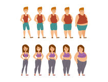 Fat cartoon people different stages vector illustration. Fat woman and man cartoon style different stages vector illustration. Fat problems. Health care. Fast Royalty Free Stock Image
