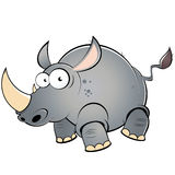 Fat cartoon rhinoceros. Illustration of a fat cartoon rhinoceros isolated against a white background Royalty Free Stock Photo