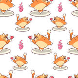 Fat cat blowing air kiss seamless pattern. Valentine`s day vector design Stock Image