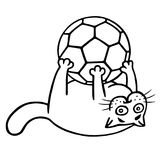 Fat cat is caught a soccer ball. Isolated vector illustration. Royalty Free Stock Photography