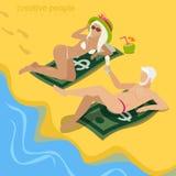 Fat cat concubine beach money flat 3d vector isometric Royalty Free Stock Image