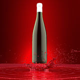 red wine bottle with no label  white cap above the splash of glossy red paint template mock-up on red background Stock Images