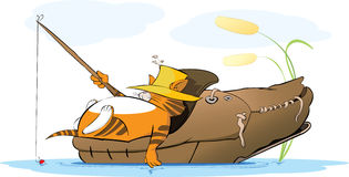 Free Fat Cat Fisherman In An Old Shoe Royalty Free Stock Images - 62007479