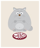 Fat cat is going to have dinner a large piece of sausage Royalty Free Stock Photo