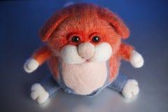 Fat cat. Handmade toy from felt Stock Photo