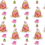 Fat cat holding heart-shaped box seamless pattern. Valentine`s day vector design Royalty Free Stock Photo