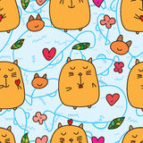 Fat cat love seamless pattern. This illustration is drawing funny orange color fat cat with abstract water color in seamless pattern Royalty Free Stock Photography