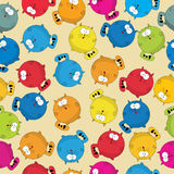 Fat cat pattern. Cartoon style seamless patter with cute fat cats, wrapping paper or background  design Stock Image
