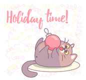 Fat cat playing with Christmas ornament. New year vector greeting card design stock image