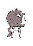 Fat cat playing with a mouse Royalty Free Stock Photo