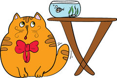 Fat cat. With a red bow Stock Images