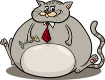 Fat cat saying cartoon illustration. Cartoon Humor Concept Illustration of Fat Cat Saying or Proverb Stock Image