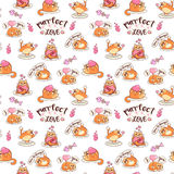 Fat cats with hearts and balloons eamless pattern. Valentine`s day vector design stock illustration