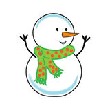 Fat cheerful snowman. Christmas. Funny snowman. Christmas.  on white background without shadow Royalty Free Stock Images