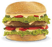Fat Cheeseburger Stock Image