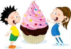 Fat children with big cake cartoon illustration isolated on white - flat design Stock Photos