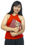 Fat Chubby Girl Holding Present Royalty Free Stock Photography