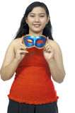 Fat Chubby Girl Wear Mask Stock Photo