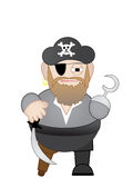 Fat Chubby short Pirate with sword and hook hand. Isolated cartoon pirate stands alone Stock Photos