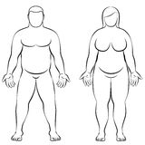 Fat Couple Overweight Man Woman Body Frontal View Illustration Royalty Free Stock Photos
